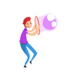 young smiling man blowing big soap bubble with vector image vector image