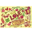 Colored Valentines day doodle set vector image