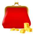 red purse with coins on white background for vector image