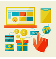 e-commerce symbols internet shopping elements vector image