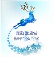 Watercolor beautiful blue deer with snowflakes vector image
