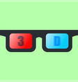 3d glasses isolated on green background vector image
