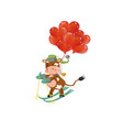 a cow skiing with red heart shaped balloons vector image vector image