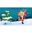A playful reindeer wearing Santas outfit vector image vector image