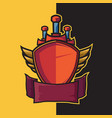 badge winged shield and sword for esport logo