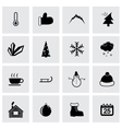 black winter icon set vector image vector image