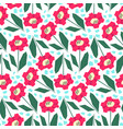 bright pattern with cute red flowers vector image