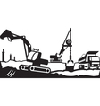 Building excavation and transport equipment vector image vector image