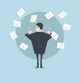 businessman throws paper and thumbs up vector image