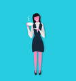 businesswoman holding cup of coffee break concept vector image