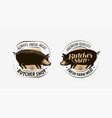 butcher shop butcher logo pig pork label vector image vector image