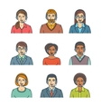 call center agents flat line avatars vector image vector image