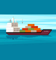cargo ship with containers large sea vector image vector image