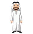 cartoon saudi arab man in white clothes vector image