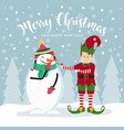 christmas card with cute elf and snowman vector image vector image