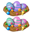colorful easter eggs with pattern in straw basket vector image vector image