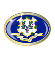 connecticut state flag oval button vector image vector image
