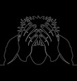 continuous line drawing man in despair concept vector image vector image