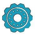 Drawing blue gear wheel engine cog icon