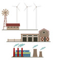 ecological energy wind factories set isolated on a vector image vector image