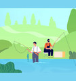 fishing on river fisherman catches fishes man vector image vector image