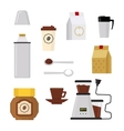 Flat modern icons for coffee shop vector image
