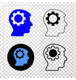 gear thinking head eps icon with contour vector image