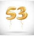 golden number 53 fifty three metallic balloon vector image vector image