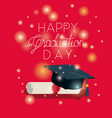 graduation card with hat and diploma vector image vector image