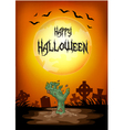 halloween zombie reaching from the ground vector image vector image