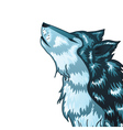 Howling Wolf Head2 vector image vector image