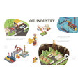 isometric oil industry composition vector image vector image