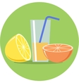 Lemon Orange and juice flat vector image