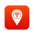 map pin pointer with wi fi symbol icon digital red vector image vector image