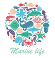 marine life icons in the form of a circle vector image vector image