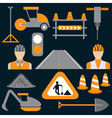 men at work road works flat design icons vector image