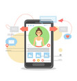 mobile phone dating app flat vector image