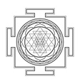 monocrome outline sri yantra vector image vector image