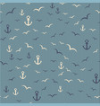 Nautical seamless pattern with anchor and seagulls