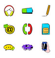 network icons set cartoon style vector image