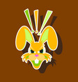 paper sticker on theme evil rabbit animal vector image vector image