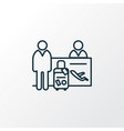 passenger at registration icon line symbol vector image