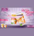 realistic poster for advertising yogurt vector image vector image