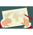 santa claus christmas planning with map vector image vector image