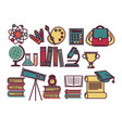 school lessons items and sicence education vector image