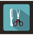 Scissors and comb icon flat style vector image vector image