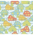 Seamless Christnas pattern with houses and trees