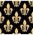 Seamless golden fleur-de-lis pattern over black vector image vector image