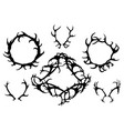 set black silhouettes deer horns round vector image vector image