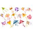 set of kites cartoon kid toys icons vector image